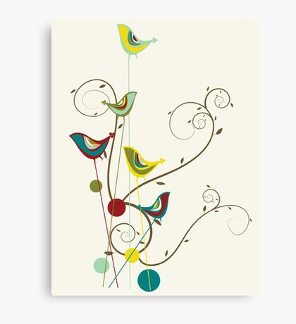 Colorful Whimsical Summer Red, Teal and Yellow Birds with Swirls Canvas Print