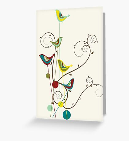 Colorful Whimsical Summer Red, Teal and Yellow Birds with Swirls Greeting Card