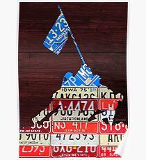 Iwo Jima USA Marines World War II License Plate Art Poster