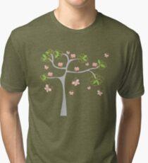 Whimsical Pink Cupcakes Tree Tri-blend T-Shirt
