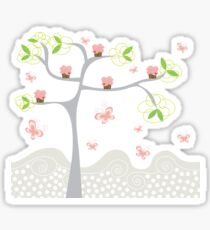 Whimsical Pink Cupcakes Tree Sticker
