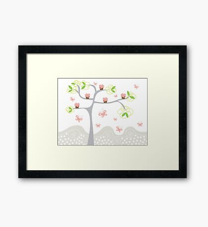 Whimsical Pink Cupcakes Tree Framed Print