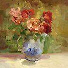 Wild Antique Roses by Sally  Rosenbaum