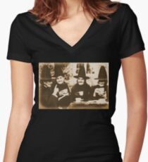 Witches Tea Party - sepia Women's Fitted V-Neck T-Shirt