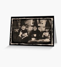 Witches Tea Party - old black/white Greeting Card