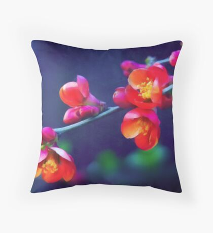 Painted Quince Blossoms Throw Pillow