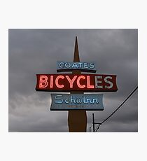 Vintage Bicycle Neon Sign  Photographic Print
