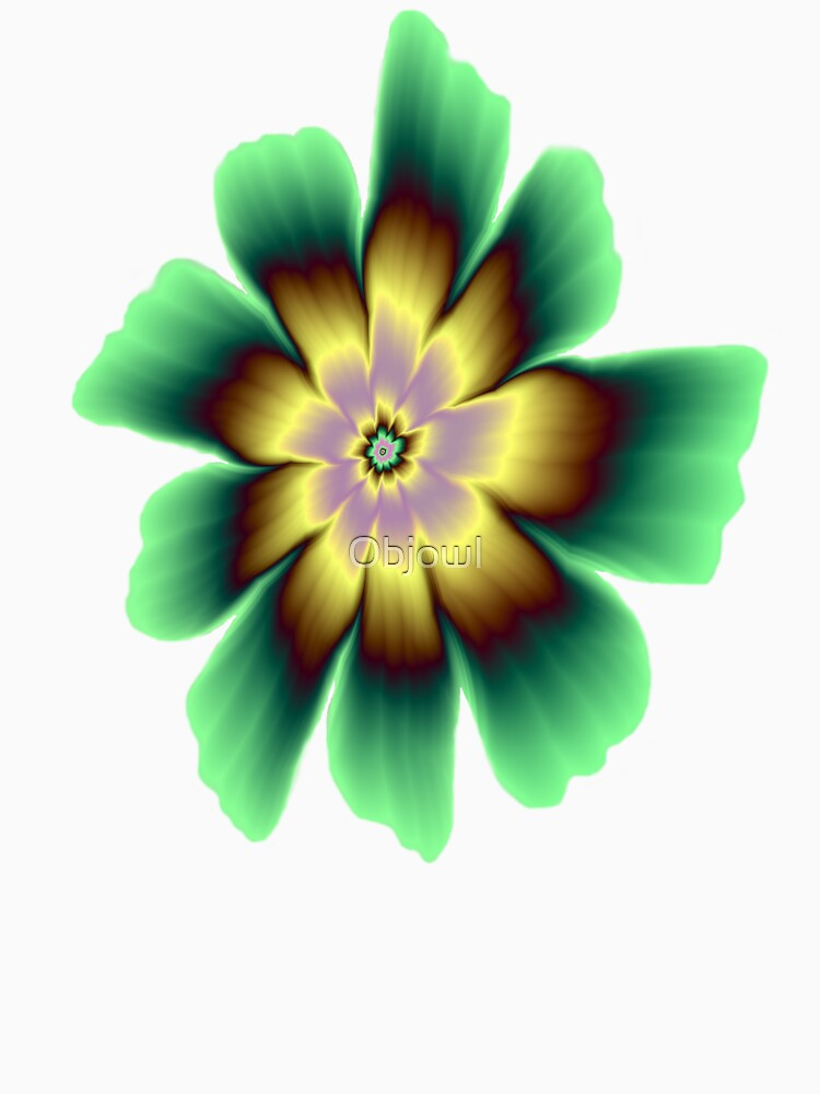 Gold and Green Daisy Flower on Pink by Objowl