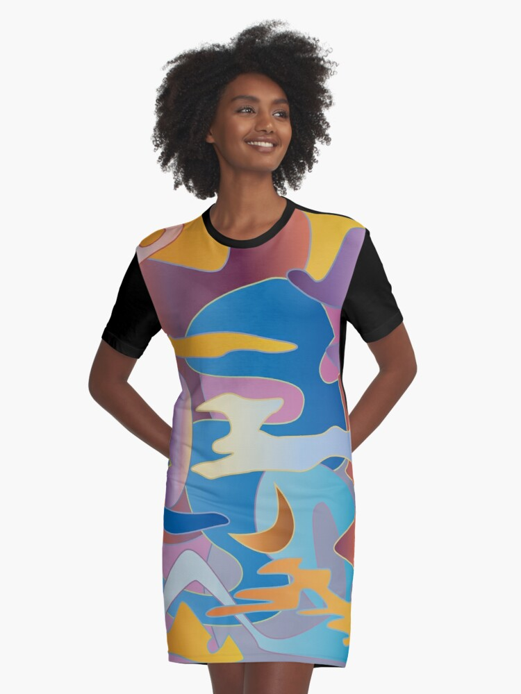 Abstract Colorful Sky Tones Dawn Sunset Daylight Evening Graphic T-Shirt Dress Front