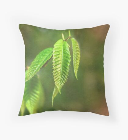 Baby Chestnut Leaves on a Painted Background Throw Pillow