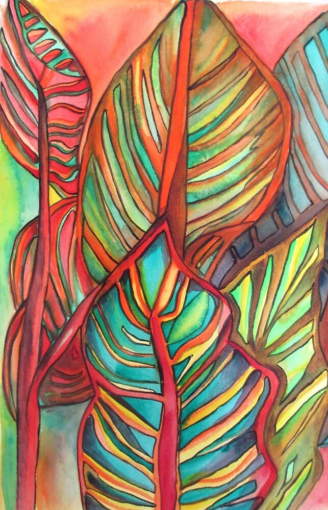 Canna leaves tropical art by grosselart