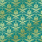 Damask Glitter Gold Classic Elegant Teal by Beverly Claire Kaiya