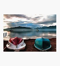 Hulls of Boats And Marmaris Winter Seascape Photographic Print