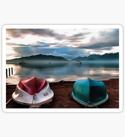 Hulls of Boats And Marmaris Winter Seascape Sticker