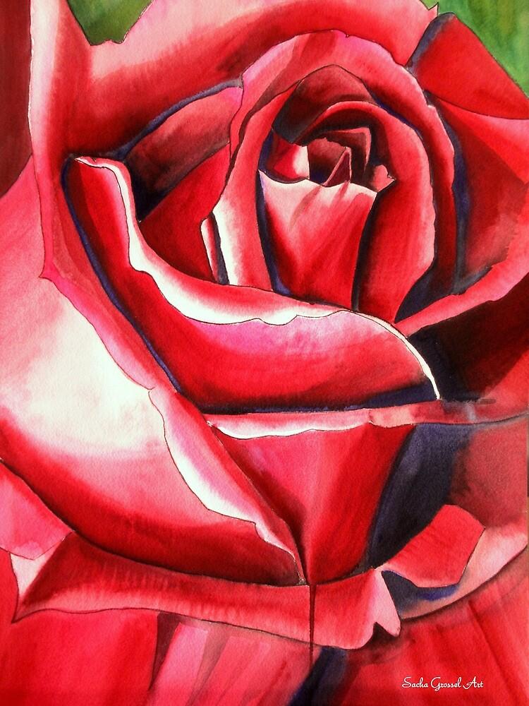 Crimson Glory red rose flower art by grosselart