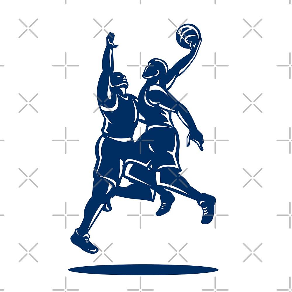 Basketball Player Dunk Block Retro by patrimonio