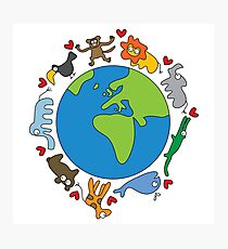 We Love Our Planet | Animals Around The World Photographic Print