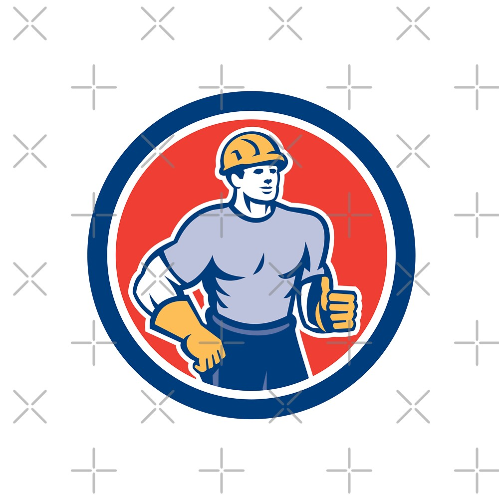 Construction Worker Thumbs Up Circle Retro by patrimonio