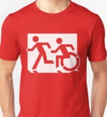 Emergency Exit Sign, with the Accessible Means of Egress Icon and Running Man, part of the Accessible Exit Sign Project Unisex T-Shirt