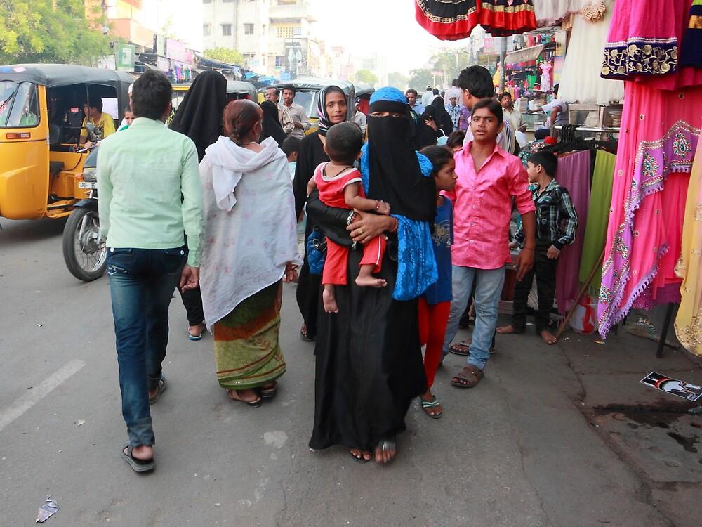 Street Scene Charminar Hyderabad by Andrew  Makowiecki