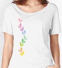 Balancing Retro Rainbow Chicks Women's Relaxed Fit T-Shirt