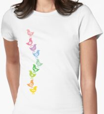 Balancing Retro Rainbow Chicks Women's Fitted T-Shirt