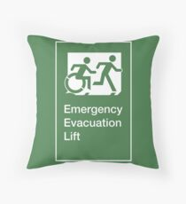 Emergency Evacuation Lift Sign, Right Hand, with the Accessible Means of Egress Icon and Running Man, part of the Accessible Exit Sign Project Throw Pillow
