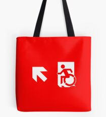 Accessible Means of Egress Icon Emergency Exit Sign, Left Hand Diagonally Up Arrow Tote Bag