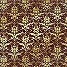 Damask Gold Glitter Dark Chestnut Brown Classic Elegant by Beverly Claire Kaiya