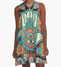 Hamsa Hand A-Linien Kleid