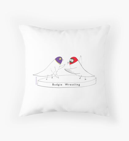 Budgie Wrestling Throw Pillow