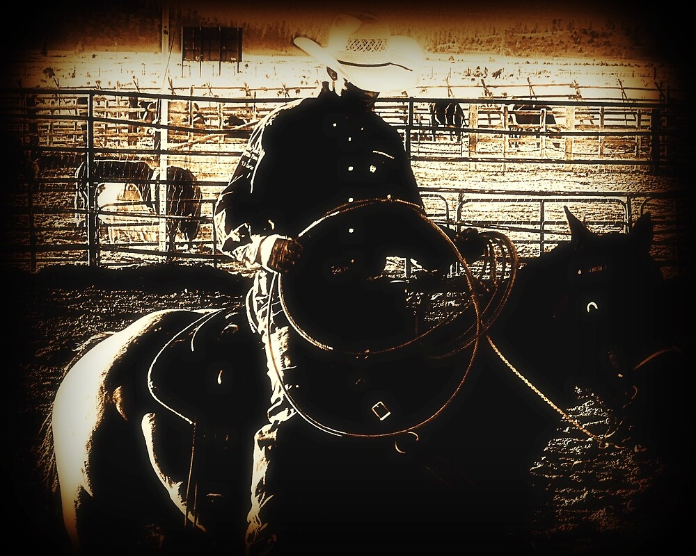 Cowboy Western Rodeo Horse Riding Vintage Look by TammyWinandArt