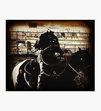 Cowboy Western Rodeo Horse Riding Vintage Look Photographic Print
