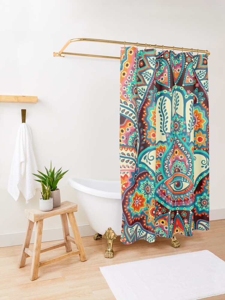 Alternate view of Hamsa Hand Shower Curtain