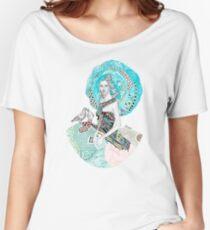 Paris Floral Love Birds Girl  Women's Relaxed Fit T-Shirt