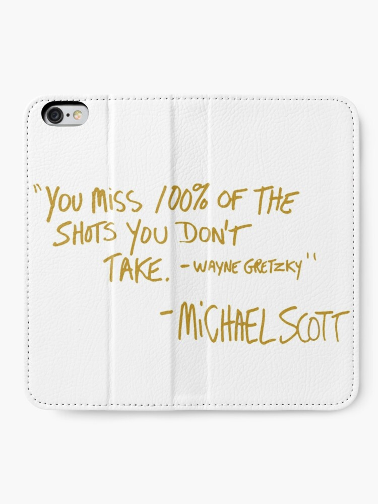 Alternate view of The Office Wayne Gretzky Quote Gold iPhone Wallet