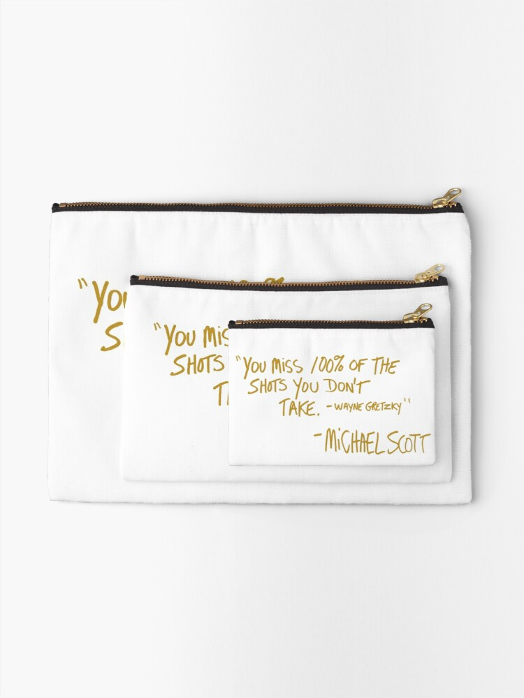 Alternate view of The Office Wayne Gretzky Quote Gold Zipper Pouch
