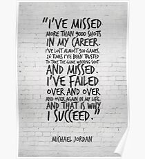 I've missed more than 9000 shots... Michael Jordan Inspirational Quote Poster