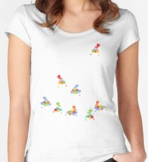 Colorful Tweet Birds On White Branches Women's Fitted Scoop T-Shirt