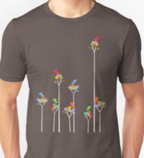 Colorful Tweet Birds On White Branches Unisex T-Shirt
