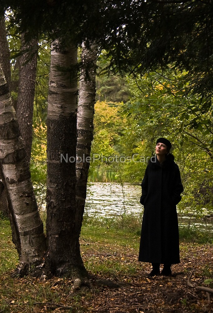 Beautiful Young Woman Looking at Tree by NoblePhotosCard