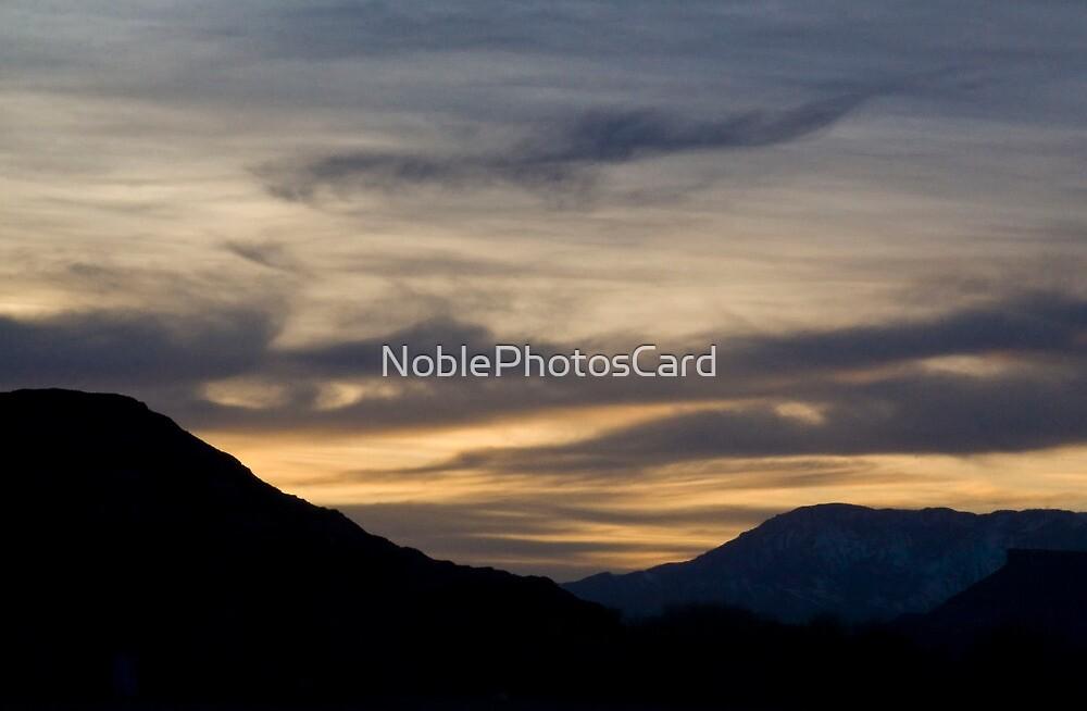 Sunset over Desert Mountains by NoblePhotosCard
