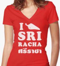 I Chili [Love] Sriracha Women's Fitted V-Neck T-Shirt