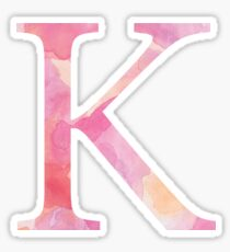 Pink Kappa Watercolor Letter Sticker
