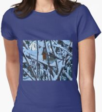 Peek A Boo Robin   - Uplyme Devon UK Womens Fitted T-Shirt