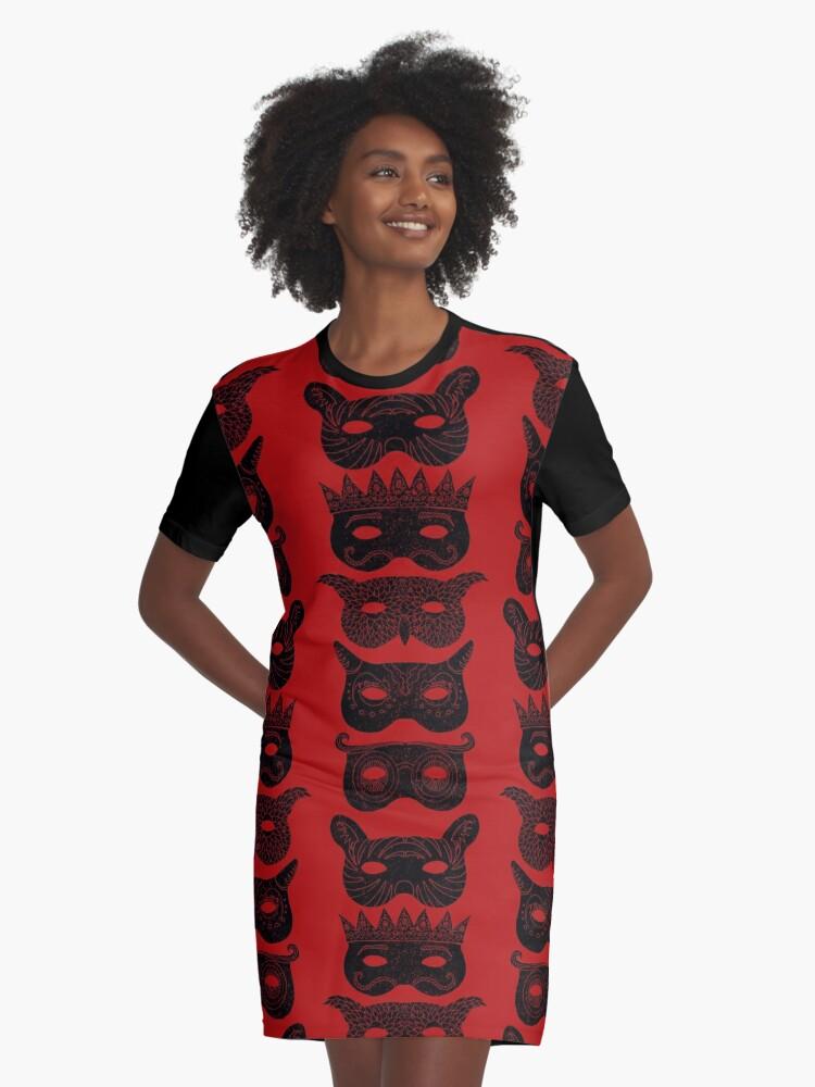 Masks Graphic T-Shirt Dress Front