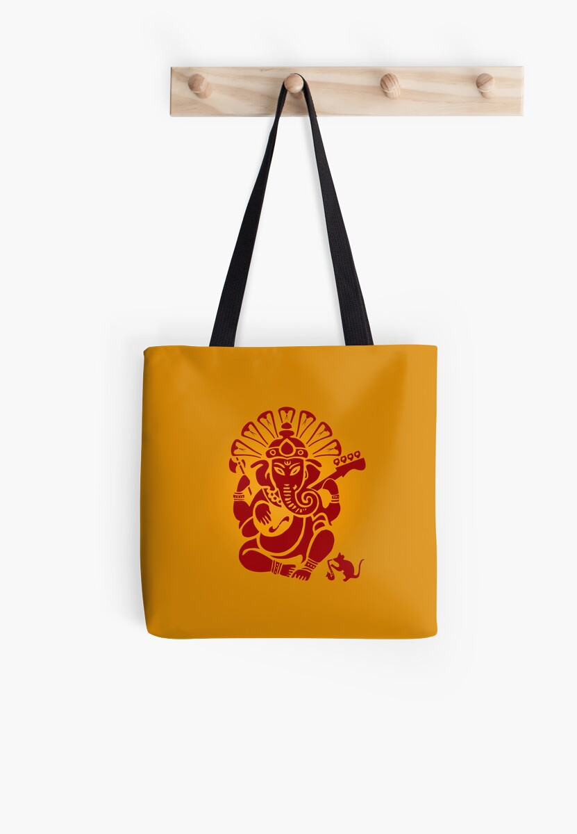 Ganesh plugged in - pillow and bag by Kim  Lynch