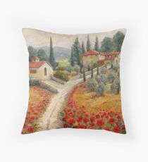 Red Poppy Road Villas Throw Pillow