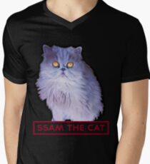 ssam the cat: 2016 [burgundy] Men's V-Neck T-Shirt