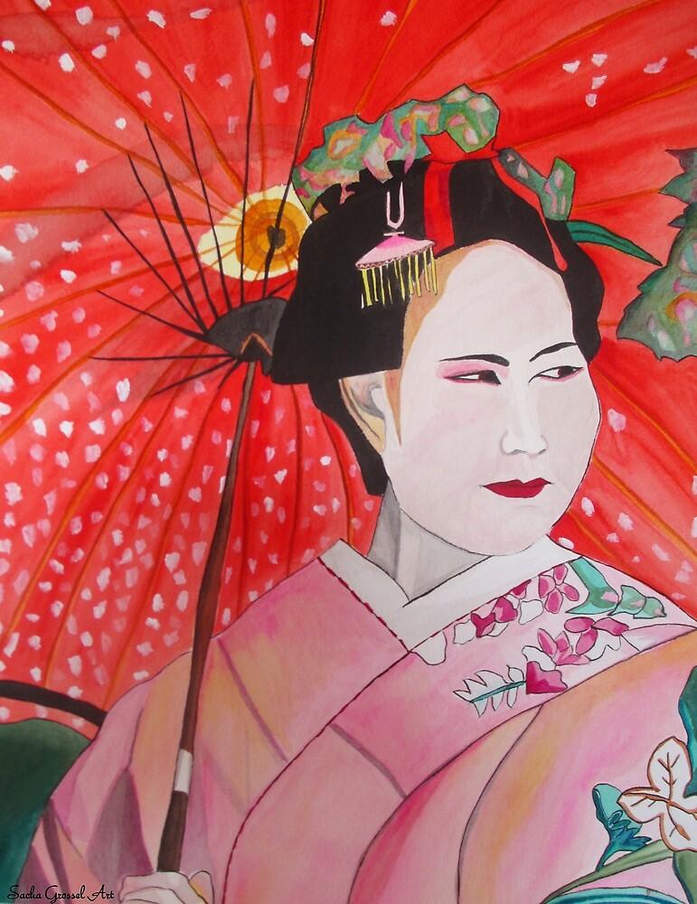 Geisha with Red Umbrella by grosselart